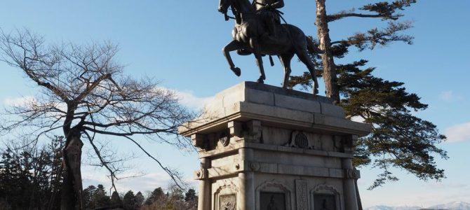 仙台城の伊達政宗公の銅像写真