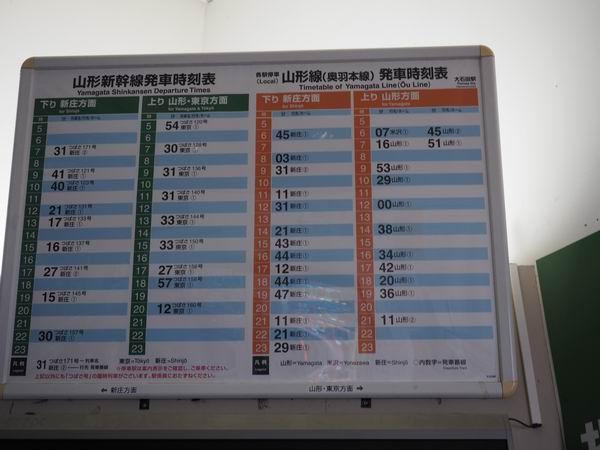 大石田駅の電車時刻表