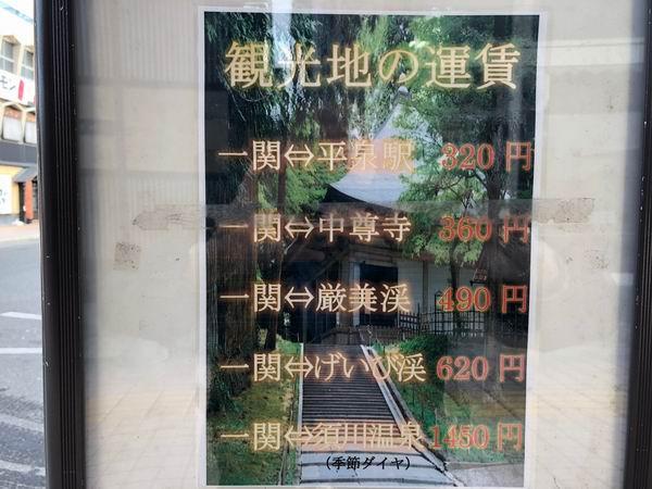 一ノ関駅から観光地までの料金表