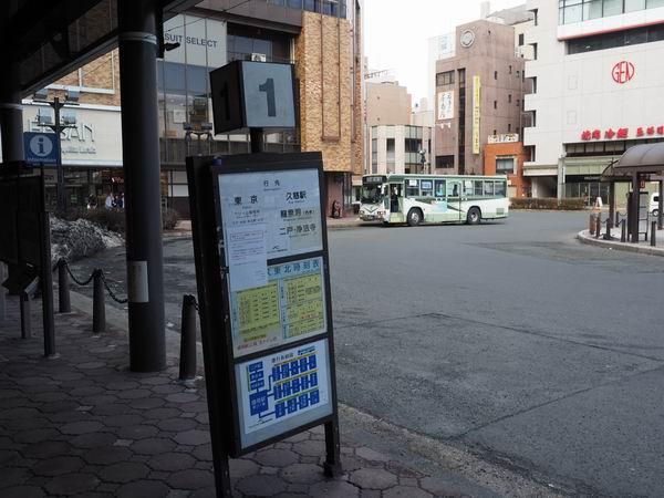 盛岡駅の高速バスの1番乗り場の風景