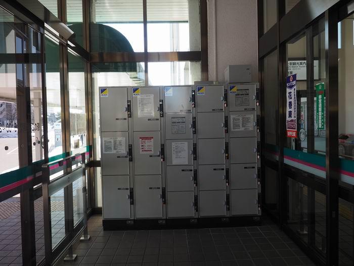 北上駅東口のコインロッカーの設置の状況写真