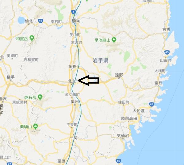 北上市の位置情報の地図
