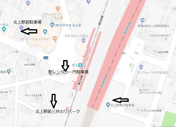 北上駅駐車場レイアウト図の地図