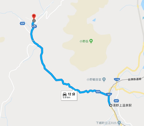 湯野上温泉駅から大内宿への地図