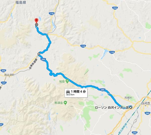 白河ICより大内宿への地図(マップ)