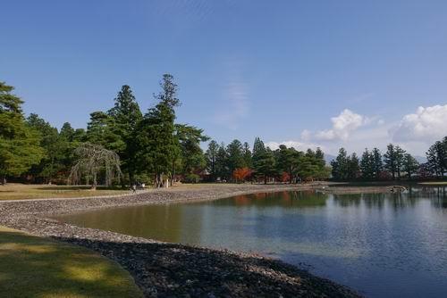 毛越寺大泉ヶ池の紅葉写真