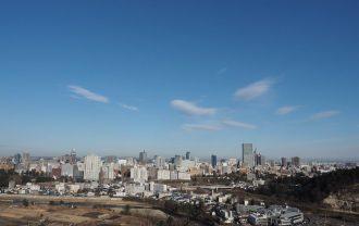 仙台城から見た仙台市街の一望