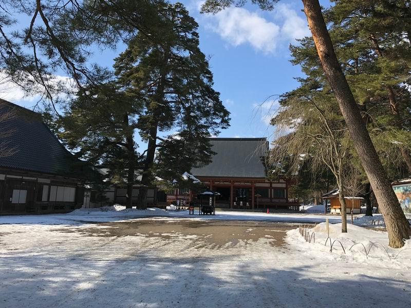 毛越寺の冬の風景をアイフォンXで撮影