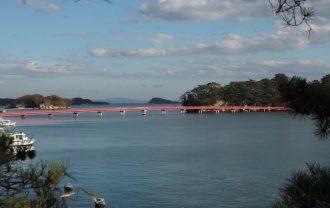 五大堂から福浦橋を眺めた風景