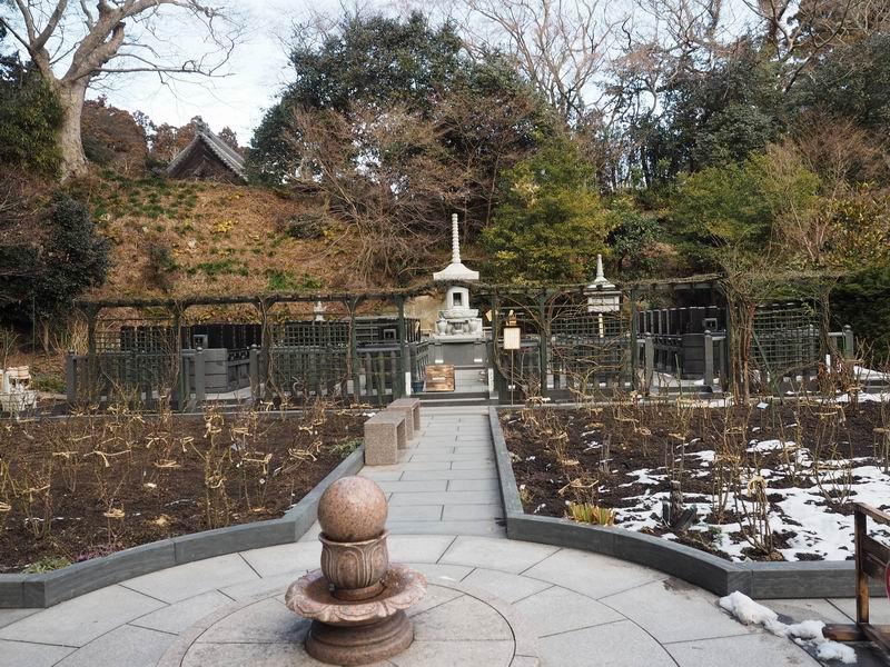 円通院の冬のバラ園の全景
