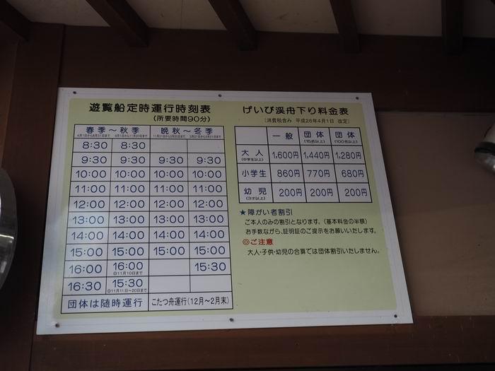 猊鼻渓舟下りの運行時間表