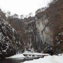 猊鼻渓の奥の風景写真