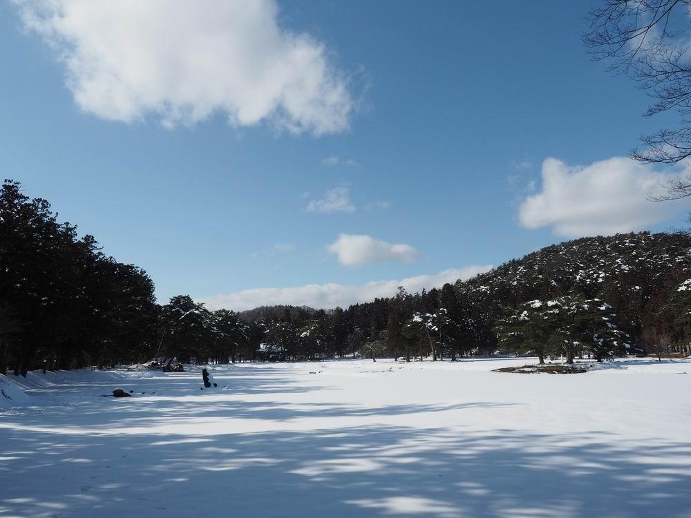 毛越寺冬の風景大泉ヶ池の風景10