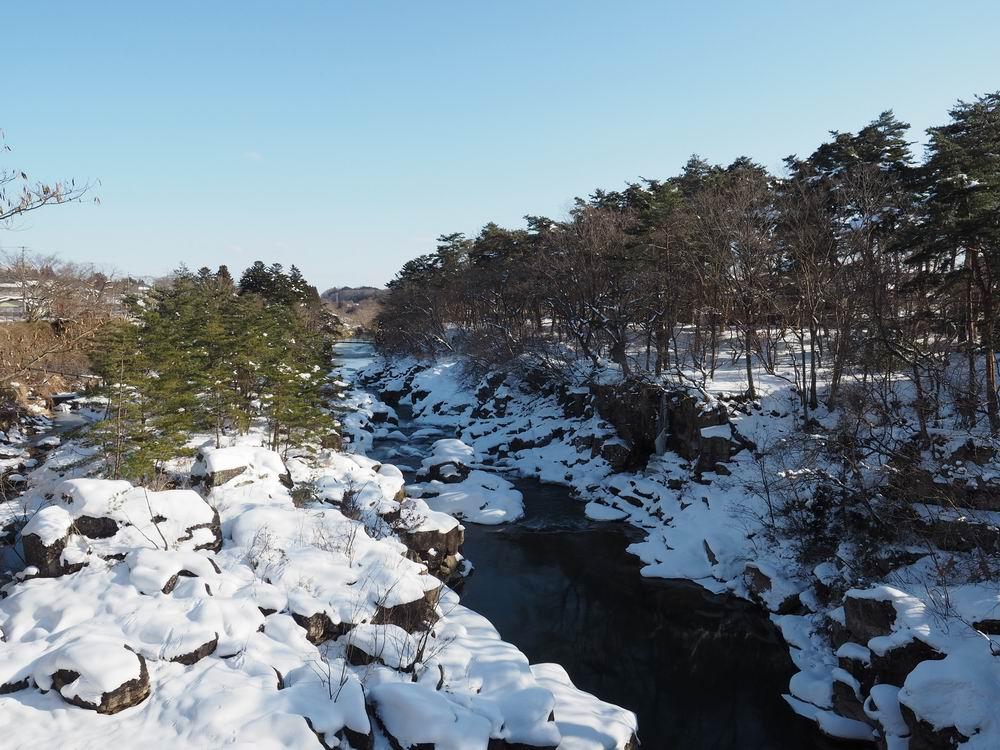 厳美渓の冬の景色の写真