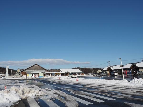 道の駅厳美渓の冬の風景