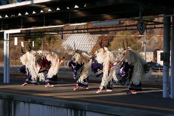 釜石駅のSL銀河の歓迎式典