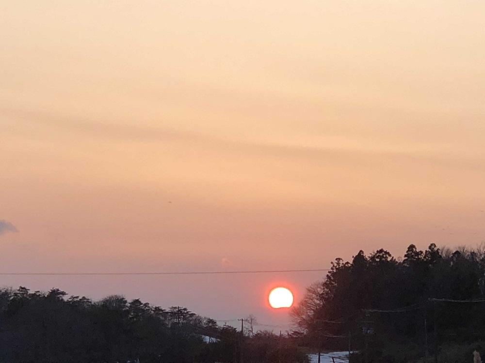 アイフォンで撮った夕日の風景