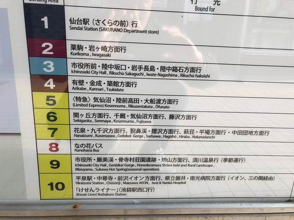 一ノ関駅のバス乗り場の行き先一覧表