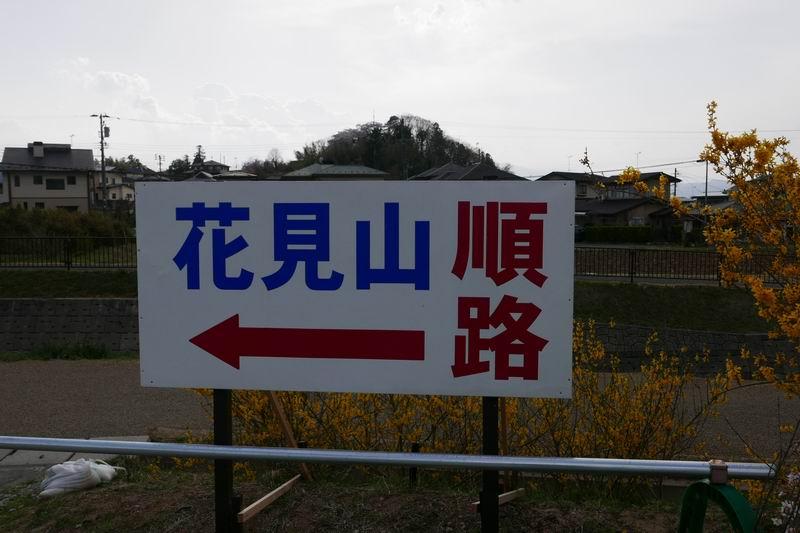 花見山公園の順路の案内板