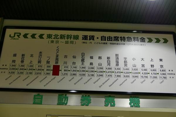 くりこま高原駅の運賃料金表