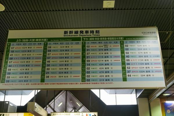 くりこま高原駅の新幹線時刻表