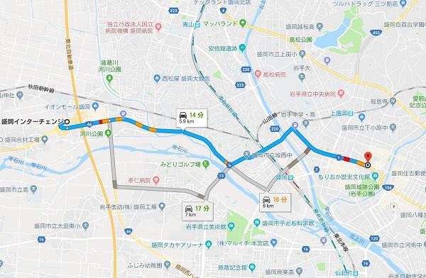 石割桜に車で行く方法の地図