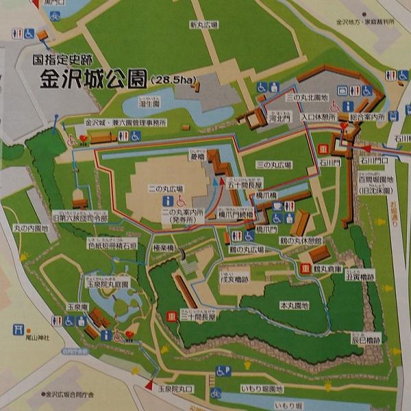 金沢城址公園の案内マップ看板