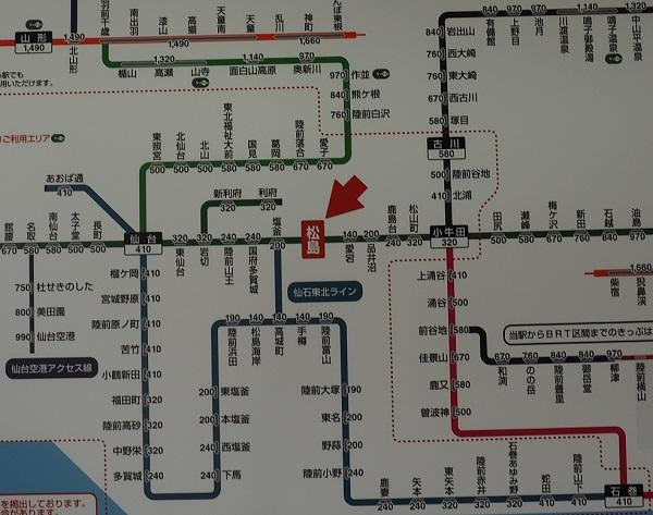 松島駅から各駅への料金表