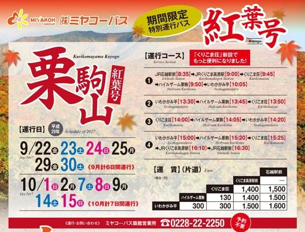 栗駒山の紅葉バスの運行日程と時間のチラシ