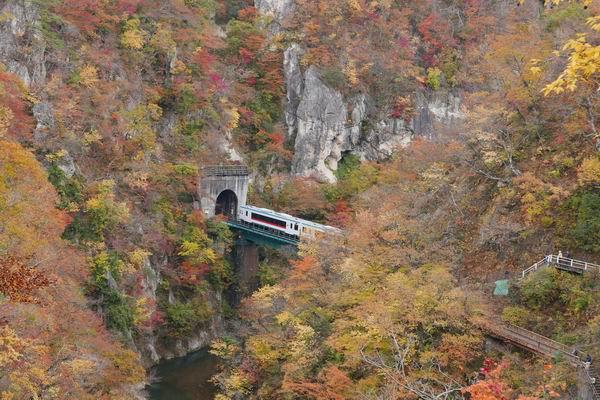 鳴子峡の陸羽東線の電車の風景写真