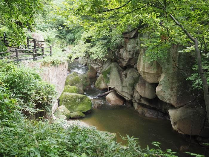 磊々峡の奇岩の風景写真