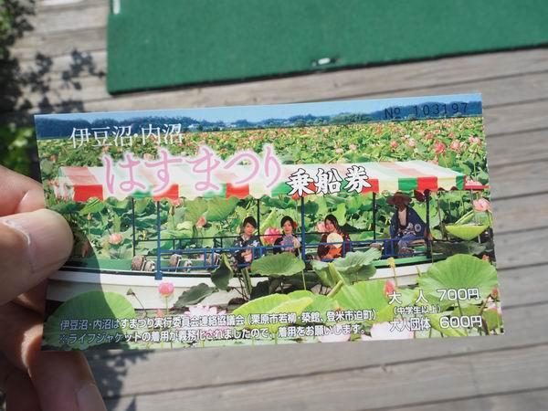 伊豆沼ハス祭りの遊覧船の乗車券の写真