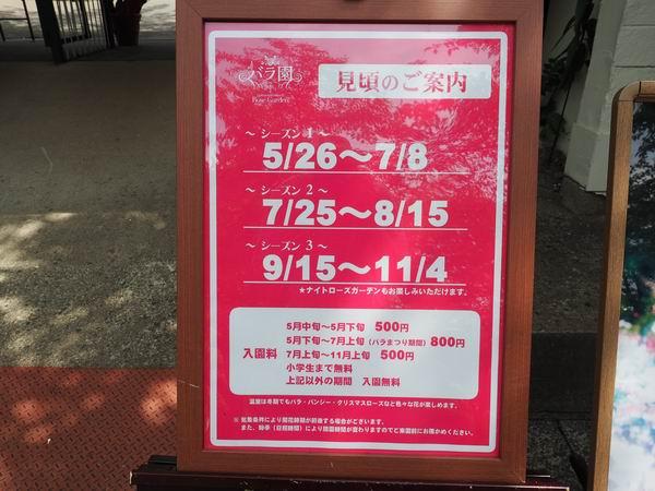 花巻温泉バラ園の見ごろ紹介の看板写真