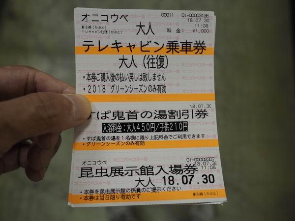 鬼首テレキャビンの乗車券の写真