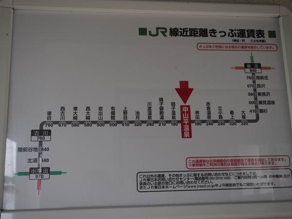 中山平温泉駅の運行経路と料金表