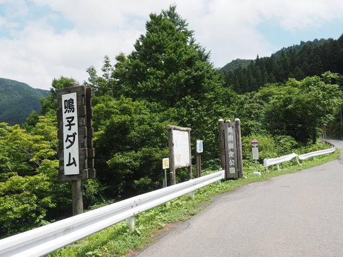 鳴子ダム展望のバス停の風景写真