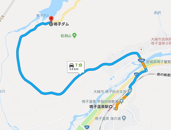 鳴子ダムへのバスでのマップ