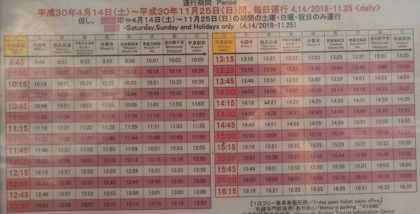 平泉駅の巡回バスるんるん号の時刻表の写真