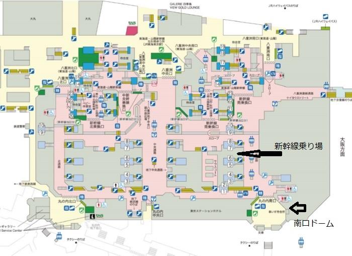 東京駅の構内図1Fのレイアウト図