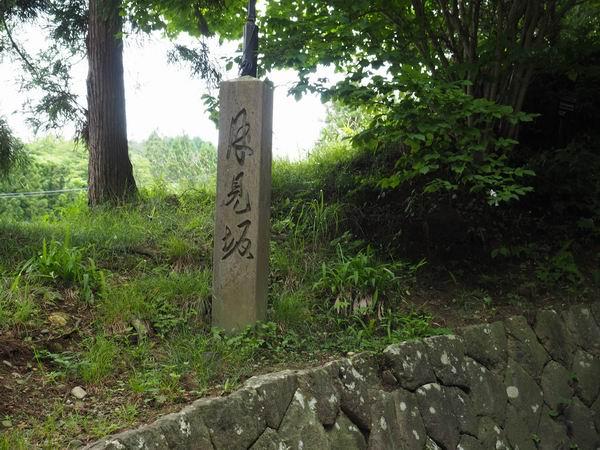 中尊寺月見坂の証明の石の石柱の写真