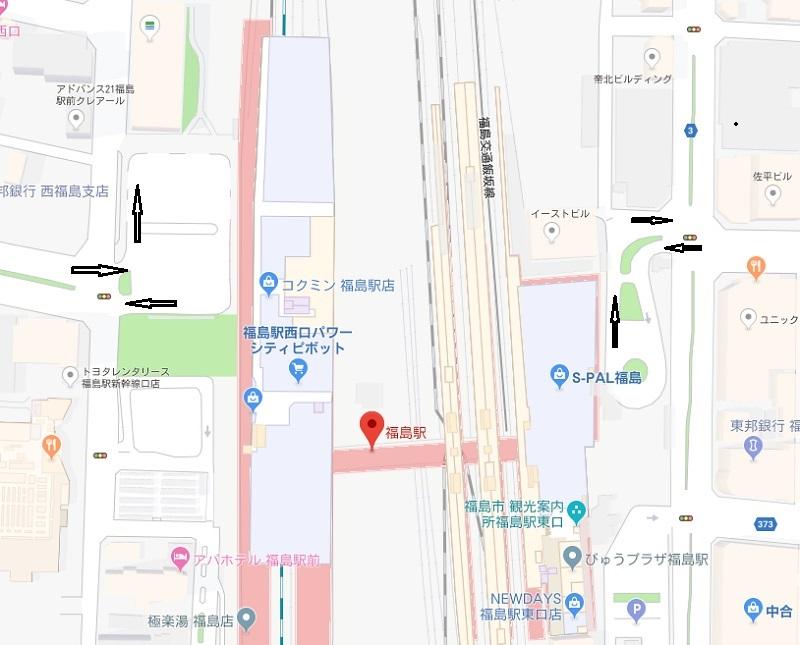 福島県福島駅の駅の一般車の侵入経路の地図