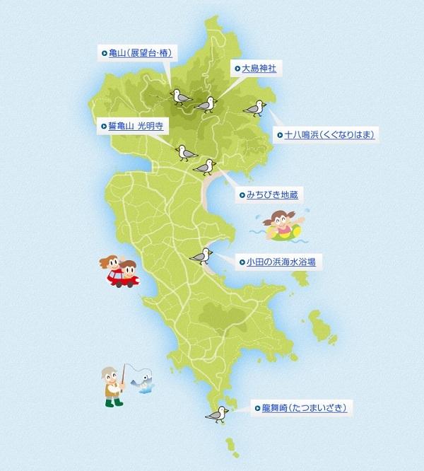大島十八鳴浜の観光マップ