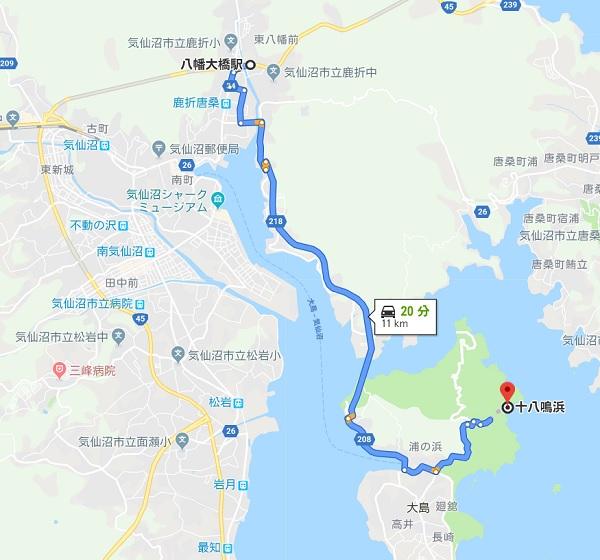 大島十八鳴浜へのマップと位置情報