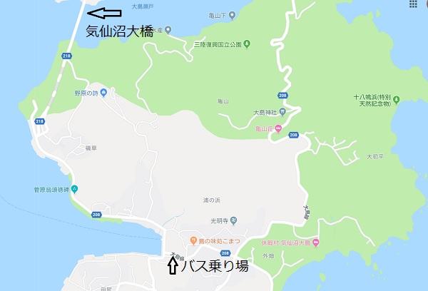 気仙沼大島亀山展望台のマップ